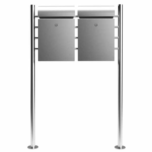 2er Design Standbriefkasten FONTANE mit Zeitungsfach - Edelstahl V4A geschliffen