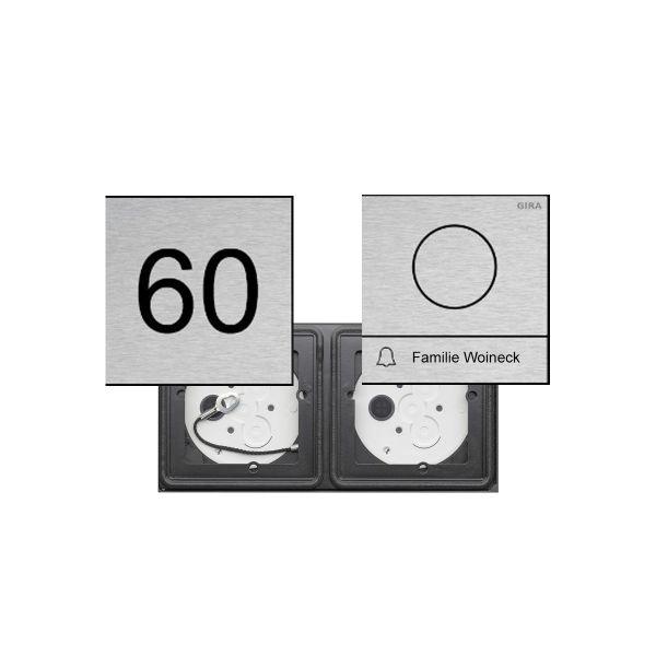 2er AUDIO Set GIRA System 106 - Edelstahl V2A - Sprechanlage mit 1x Klingeltaster