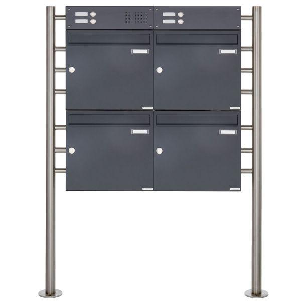4er Standbriefkasten Design BASIC 381 ST-R mit Klingelkasten - RAL 7016 anthrazitgrau