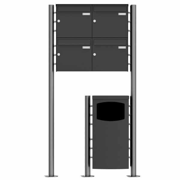 4er 2x2 Edelstahl Standbriefkasten Design BASIC Plus 381X ST-R mit Abfallbehälter - RAL nach Wahl