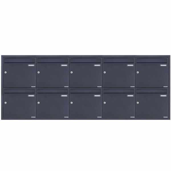 10er 5x2 Edelstahl Unterputz Briefkastenanlage BASIC Plus 382XU UP - RAL nach Wahl - 10 Parteien