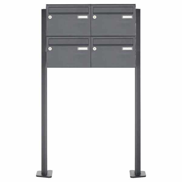 4er 2x2 Edelstahl Briefkastenanlage freistehend Design BASIC Plus 385XP220 ST-T - RAL nach Wahl
