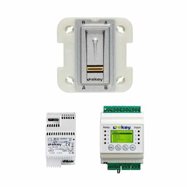 ekey home Set - Fingerscanner UP I 101310 grau - Steuereinheit REG für 2 Tür/Gerät - Netzteil REG