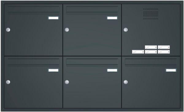 Unterputz Briefkastenanlage BASIC 534 - Pulverbeschichtet- Klingel- Sprechstelle - 5 Parteien