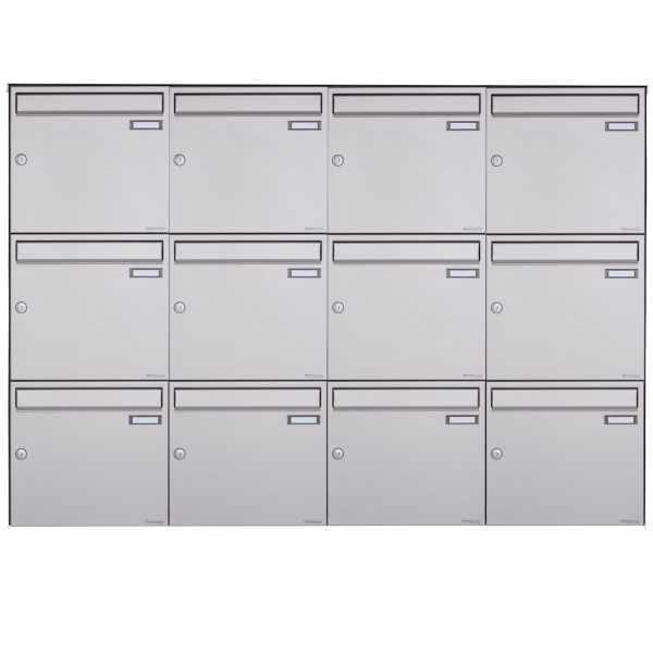 12er 3x4 Edelstahl Aufputz Briefkasten Design BASIC Plus 382XA AP - Edelstahl V2A geschliffen