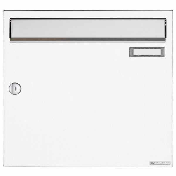 Aufputz Briefkasten Design BASIC 382A AP - Edelstahl-RAL 9016 verkehrsweiß
