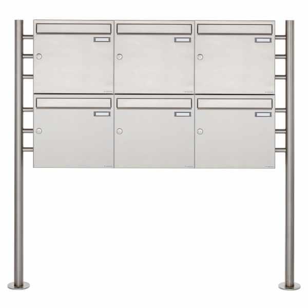 6er 2x3 Edelstahl Standbriefkasten Design BASIC 381 ST-R