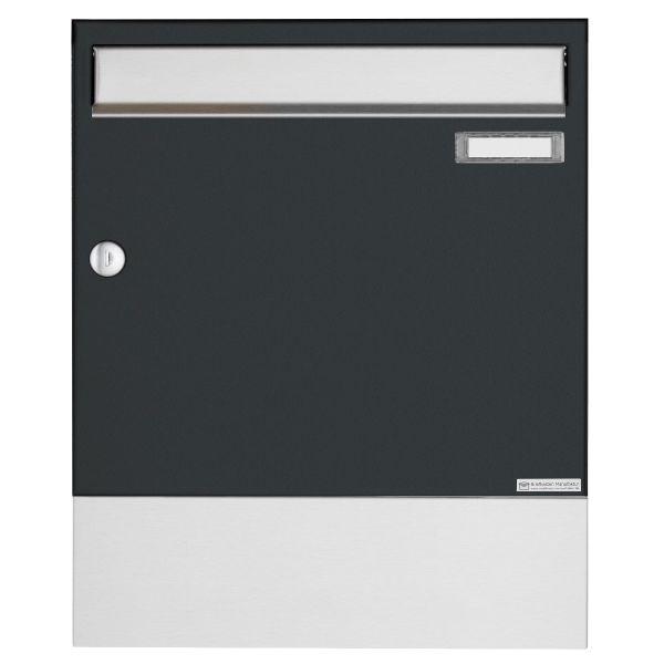 Aufputz Briefkasten Design BASIC 382A AP mit Zeitungsfach VA - Edelstahl-RAL 7016 anthrazitgrau