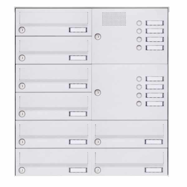 8er Aufputz Briefkastenanlage Design BASIC 385A-9016 AP mit Klingelkasten - RAL 9016 verkehrsweiß