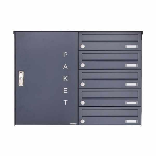 5er Aufputz Paketbriefkasten BASIC 863 AP mit Paketfach 550x370 in RAL 7016 anthrazitgrau
