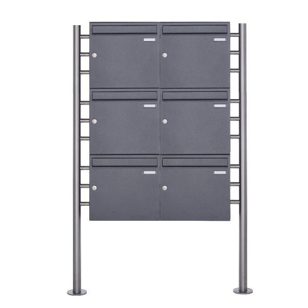 6er 3x2 Standbriefkasten Design BASIC 381 ST-R - DB703 eisenglimmer