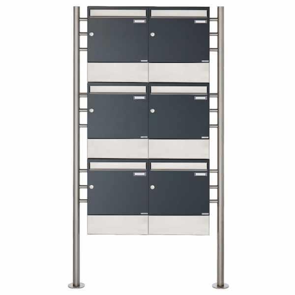 6er 3x2 Standbriefkasten Design BASIC 381 ST-R mit Zeitungsfächer - Edelstahl-RAL 7016 anthrazitgrau