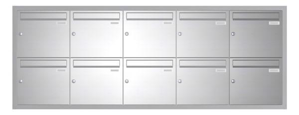 Unterputz Briefkasten BASIC 534 UP - Edelstahl V2A geschliffen - 10 Parteien