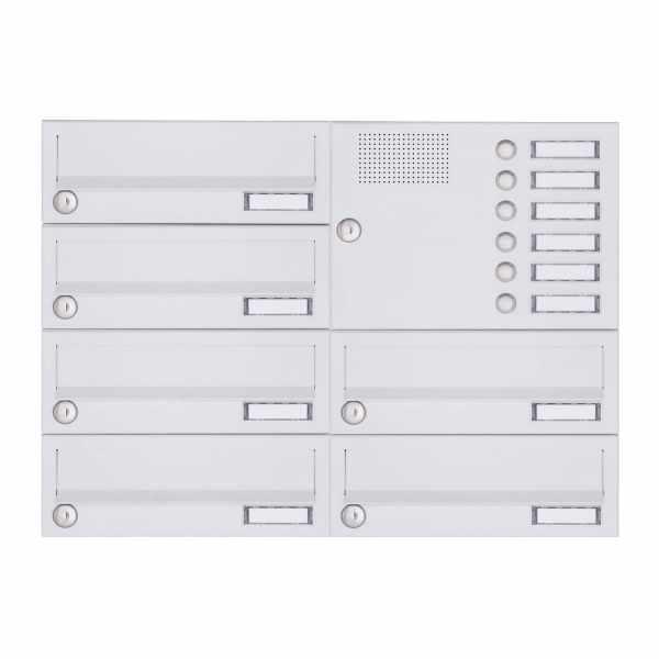 6er Aufputz Briefkastenanlage Design BASIC 385A-9016 AP mit Klingelkasten - RAL 9016 verkehrsweiß