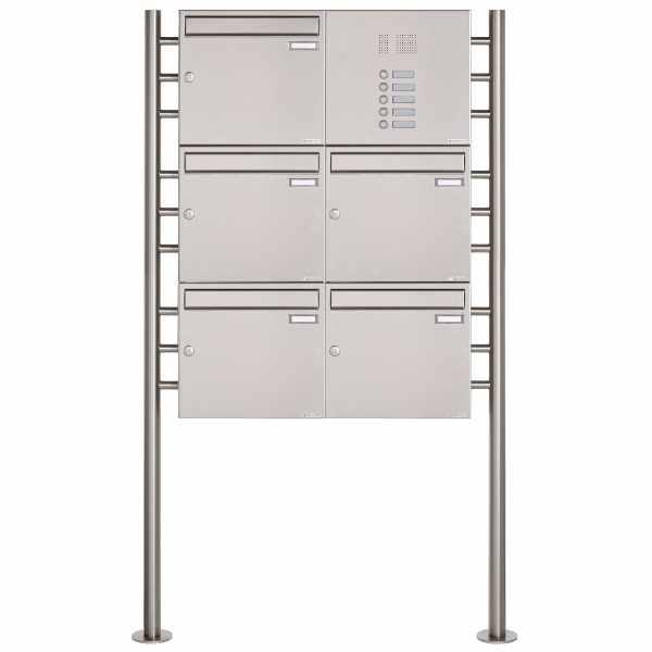 5er 3x2 Edelstahl Standbriefkasten Design BASIC 381 ST-R mit Klingelkasten