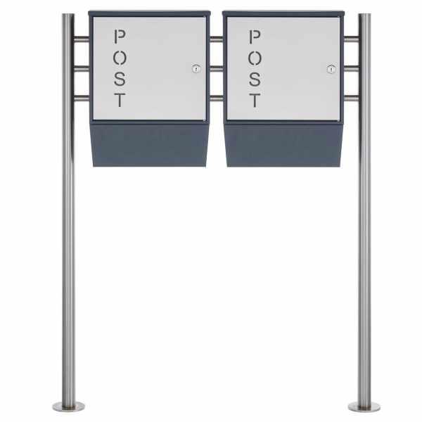 """Design Doppel-Standbriefkasten GEORGE """"POST"""" mit Zeitungsfach - RAL 7016 anthrazitgrau"""