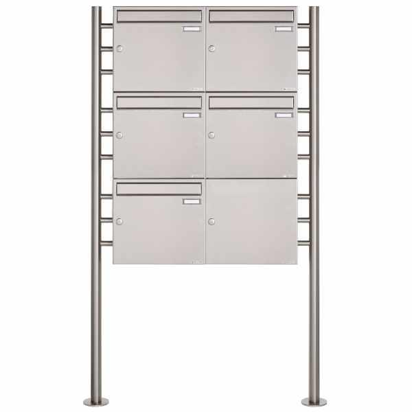5er 3x2 Edelstahl Standbriefkasten Design BASIC 381 ST-R