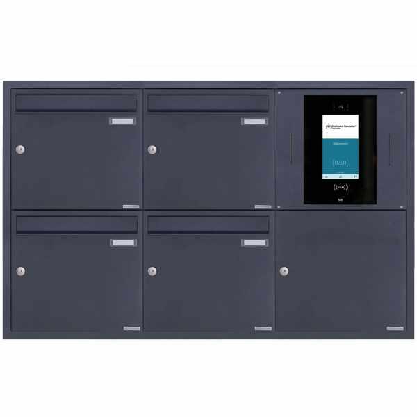 4er 3x2 Edelstahl Unterputzbriefkasten BASIC Plus 382XU UP - RAL nach Wahl - STR Digitale Türstation