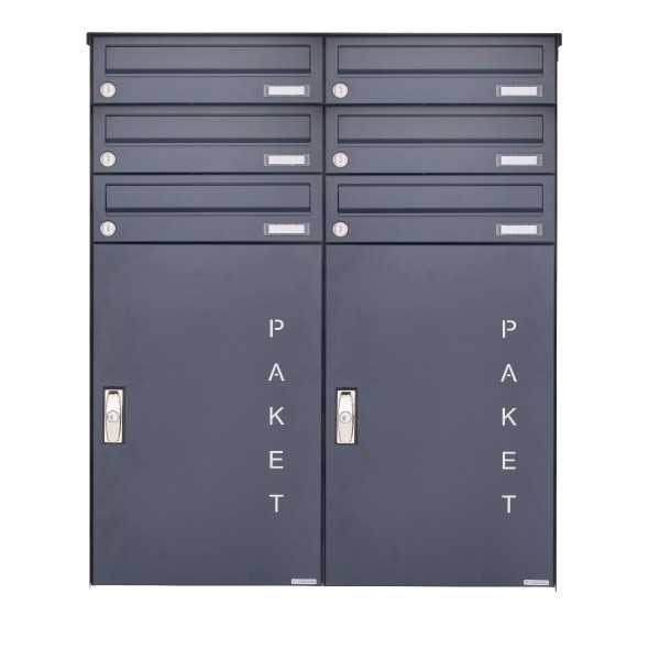 6er 3x2 Aufputz Paketbriefkasten BASIC 863 AP mit Paketfach 550x370 in RAL 7016 anthrazitgrau