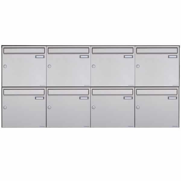 8er 2x4 Edelstahl Aufputz Briefkasten Design BASIC Plus 382XA AP - Edelstahl V2A geschliffen
