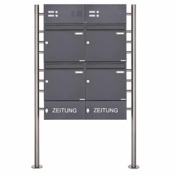 4er Standbriefkasten Design BASIC 381 ST-R mit Klingelkasten & Zeitungsfach- RAL 7016 anthrazit