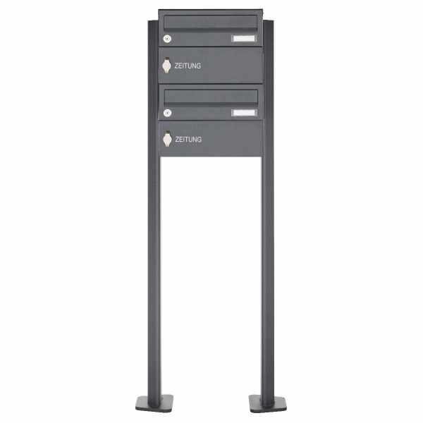 2er Standbriefkasten Design BASIC 385P-7016 ST-T - 2x Zeitungsfach - RAL 7016 anthrazitgrau