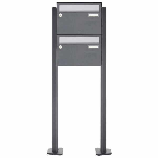 2er Briefkastenanlage freistehend Design BASIC Plus 385XP220 ST-T - Edelstahl-RAL nach Wahl