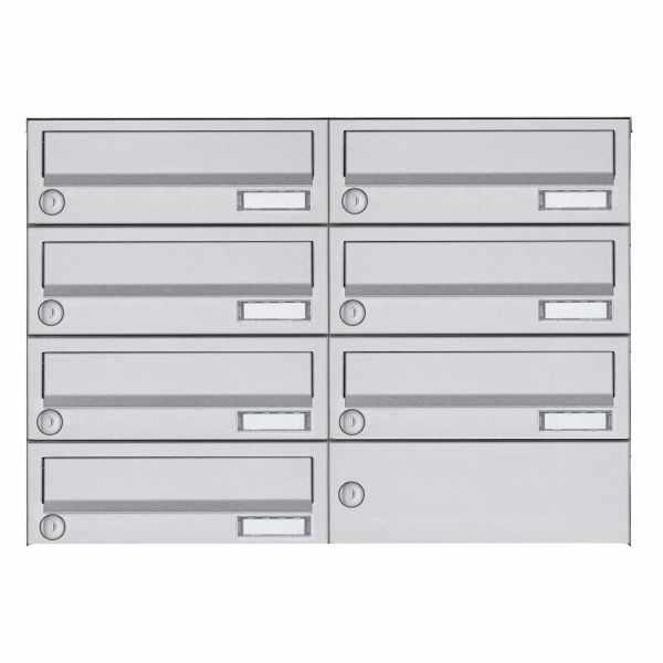 7er 4x2 Aufputz Briefkastenanlage Design BASIC 385A-VA AP - Edelstahl V2A, geschliffen