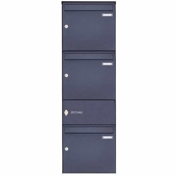 3er Edelstahl Aufputz Briefkasten Design BASIC Plus 382XA AP mit Zeitungsfach - RAL nach Wahl