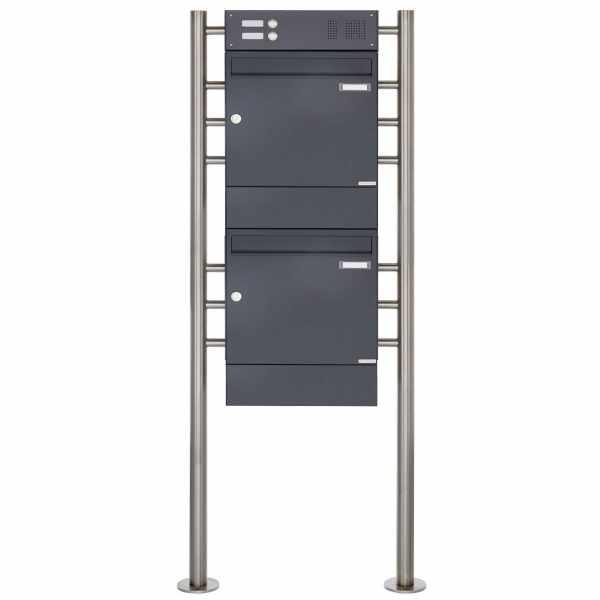 2er 2x1 Standbriefkasten Design BASIC 381 ST-R mit Klingelkasten & Zeitungsfach - RAL 7016 anthrazit