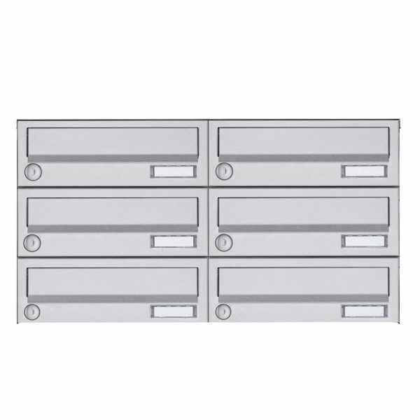 6er 3x2 Aufputz Briefkastenanlage Design BASIC 385A AP - Edelstahl V2A, geschliffen