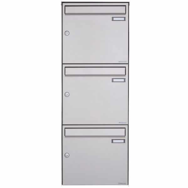 3er Edelstahl Aufputz Briefkasten Design BASIC Plus 382XA AP - Edelstahl V2A geschliffen