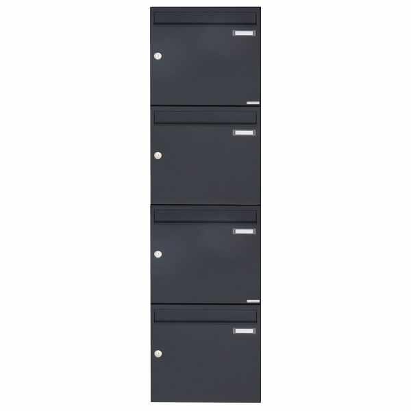 4er 4x1 Aufputz Briefkasten Design BASIC 382A AP - RAL 7016 anthrazitgrau