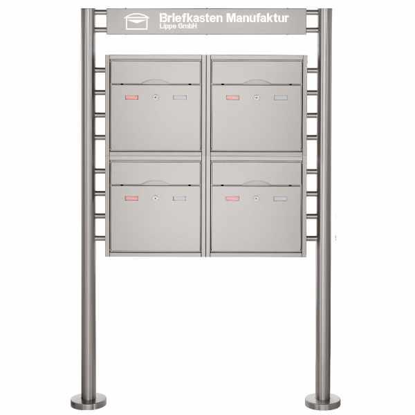 4er 2x2 Standbriefkasten PREMIUM BIG ST-R mit Beleuchtungskasten 800x100x50 aus Edelstahl