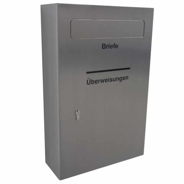 Sicherheits Briefkasten Typ 124 monoform + Überweisungen - Edelstahl geschliffen