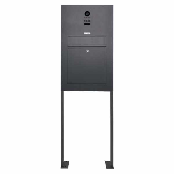 Edelstahl Standbriefkasten Designer Modell BIG ST-P mit DoorBird Video- Sprechanlage - RAL nach Wahl