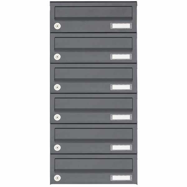 6er Aufputz Briefkastenanlage Design BASIC 385A AP - RAL 7016 anthrazitgrau