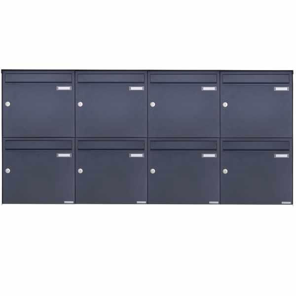 8er 2x4 Edelstahl Aufputz Briefkasten Design BASIC Plus 382XA AP - RAL nach Wahl