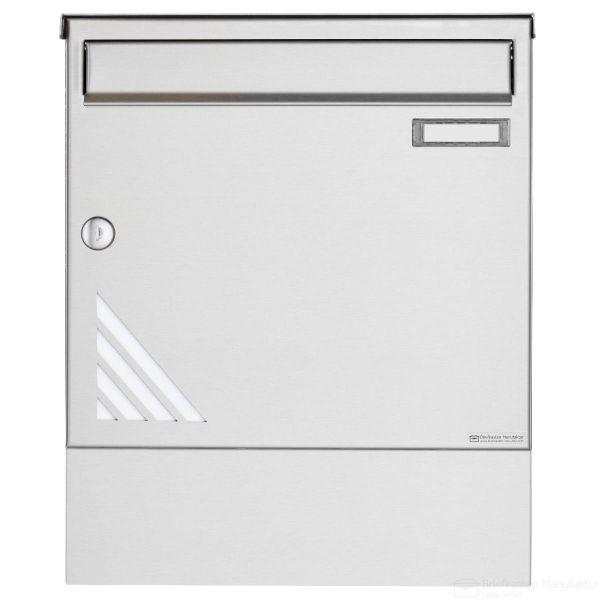 Edelstahl Briefkasten BASIC 630 Vertigo Design mit Zeitungsfach & Regendach