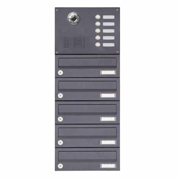 5er Aufputzbriefkasten BASIC Plus 385KXA AP mit Klingelkasten - Kameravorbereitung