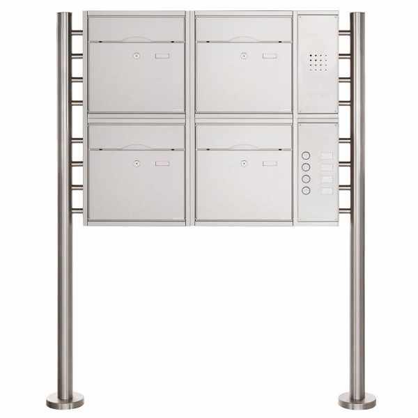 4er 2x2 Standbriefkasten PREMIUM BIG mit Klingeltableau aus Edelstahl geschliffen