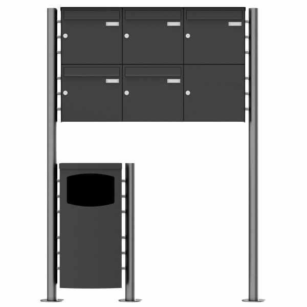 5er 2x3 Edelstahl Standbriefkasten Design BASIC Plus 381X ST-R mit Abfallbehälter - RAL nach Wahl