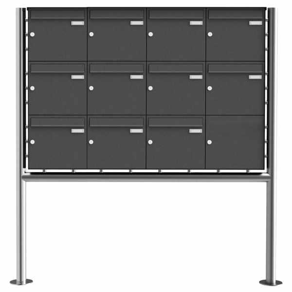 11er 3x4 Edelstahl Standbriefkasten Design BASIC Plus 381X ST-R - RAL nach Wahl