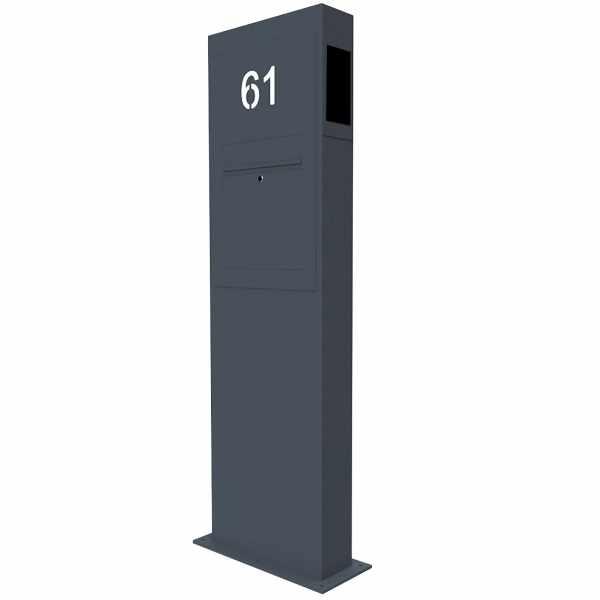 Briefkastensäule Designer BIG - GIRA System 106 - 2-fach vorbereitet - Hausnummer - RAL Farbe