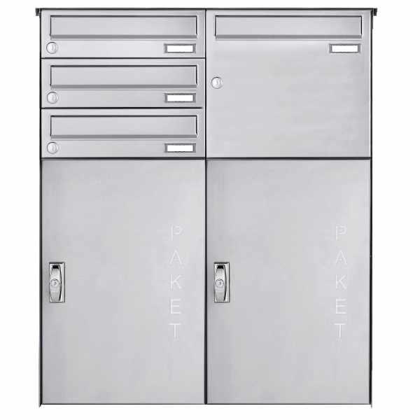 4er Edelstahl Aufputz Paketbriefkasten BASIC 863 AP mit Paketfach 550x370