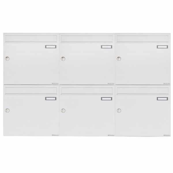 6er 2x3 Aufputz Briefkastenanlage Design BASIC 382A AP - RAL 9016 verkehrsweiß