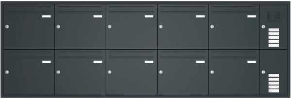 Unterputz Briefkastenanlage BASIC 534 - Pulverbeschichtet- Klingel- Sprechstelle - 10 Parteien
