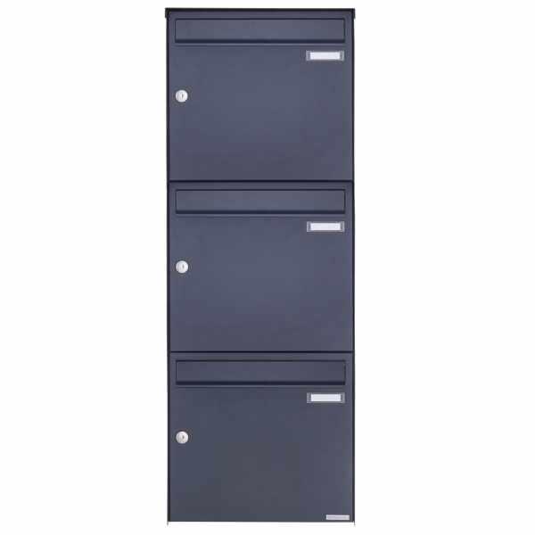 3er 3x1 Edelstahl Aufputz Briefkasten Design BASIC Plus 382XA AP - RAL nach Wahl