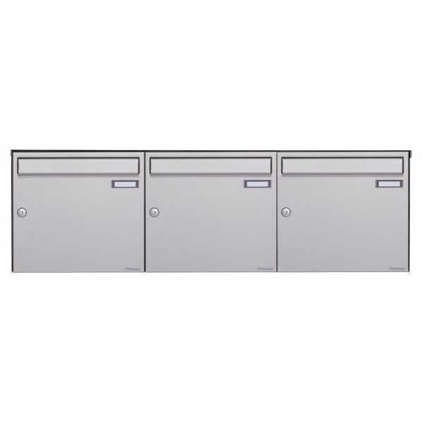 3er 1x3 Edelstahl Aufputz Briefkasten Design BASIC Plus 382XA AP - Edelstahl V2A geschliffen
