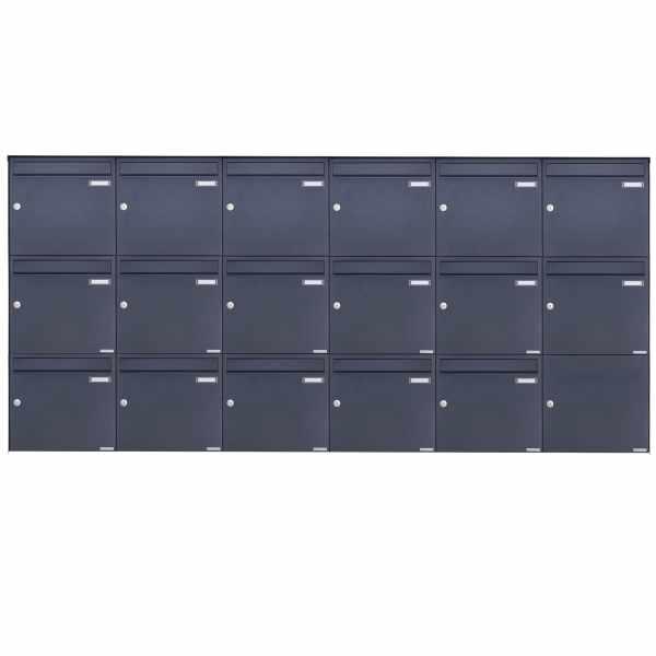 17er 3x6 Edelstahl Aufputz Briefkasten Design BASIC Plus 382XA AP - RAL nach Wahl